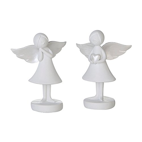 1 x Figur Schutzengel weiß Höhe 9 cm, Angel, Engel, Tischdeko, Kommunion, Firmung (rechts (Stückpreis))