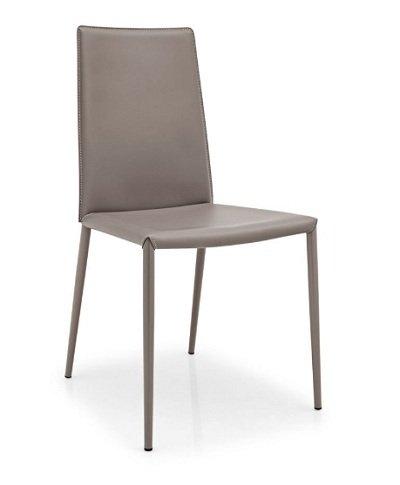 Calligaris Stuhl 2-Boheme hoher Rückenlehne, wiederaufbereitetes Leder grau Taubengrau