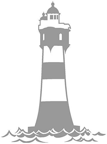 Samunshi® Aufkleber Leuchtturm 'Roter Sand' Autoaufkleber in 12 Größen und 25 Farben (52x70cm grau) -