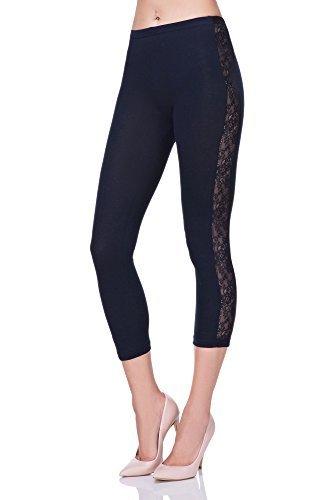 futuro fashion court 3/4 longueur Leggings coton avec dentelle actif danse pantalon lpl34 Bleu Marine