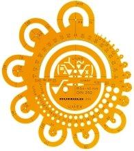 Abrundungsschablone Radien von 0,4 - 40 mm in optimaler Abstufung nach DIN 250, Vorzugsreihe nach DIN unterstrichen, Radien 0,4 - 2 mm in Abstufung 0,1 mm, Radien 2,5 - 40 mm zusätzlich mit Kreistangenten sowie Zentrumbohrung und Achsenprägung, Winkelmesser, ausgewählte Oberflächenzeichen, nach DIN ISO 1302, mit Tuschekante. Aus orange-transparentem Kunststoff. Größe: Ø 160 x 1,6 mm.