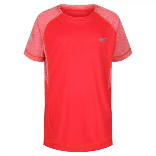 Regatta Kinder Dazzler II Quick Drying Reflective Active T-Shirt, Coral Blush, 5-6 -