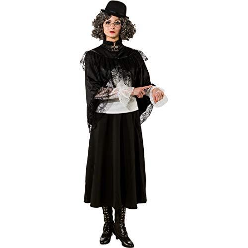 Frauen Nette Kostüm Hexe - NET TOYS Hochwertiges Steampunk-Cape für Frauen | Schwarz in Größe L/XL (44 - 50) | Extravaganter Damen-Umhang Hexe | Perfekt angezogen für Halloween & Fasching
