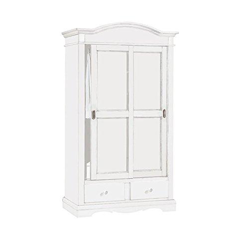 Inhouse srls armadio 2 porte scorrevoli,arte povera,in legno massello e mdf con rifiniture bianco opaco- mis.122x59x200h