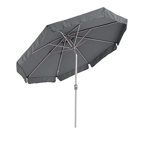 SORARA Sonnenschirm Parasol | Grau | Ø 300 cm / 3m | Rund Palermo | Polyester 180 g/m² (UV 50+)| Kurbel & Pendel (excl. Base)
