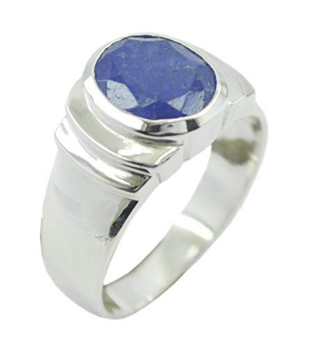 riyo Edelstein 925er Sterling Silber feiner echter Blauer Ring, Lapislazuli Blauer Steinsilberring (Echtes Sterling Silber Nase Ringe)