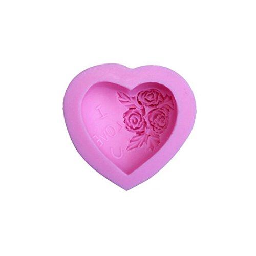 Qinlee Liebevolles Herz Rose Blumen Silikon-Form zum Backen Basteln für Kuchen Muffins Handgefertigte Seife Kekse Schokolade Eiswürfel 3D Mould