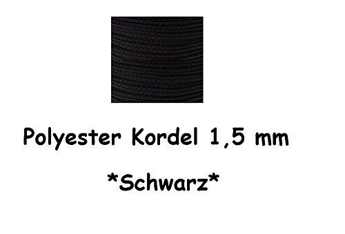 Schnullerkettenschnur Polyester Kordel in verschiedenen Farben und Längen (1 Meter, Schwarz)