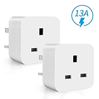 WiFi Smart Plug Mini ANOOPSYCHE Alexa Plugs, Energy Monitoring Timer Remote Control Plug Socket No Hub Required, 13A Smart Socket Compatible with Alexa Google Assistant IFTTT (UK Plug 2 Pack)