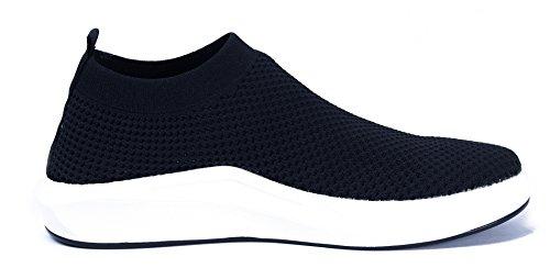 AgeeMi Shoes Herren Sneakers Slip On Bequeme Freizeit Sportschuhe Laufschuhe Schwarz(EuN06)
