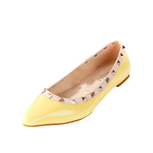 Minetom Donna Elegante Rivetto Leather Slip On Flats Pompe Scarpe Basse Piatte Giallo chiaro