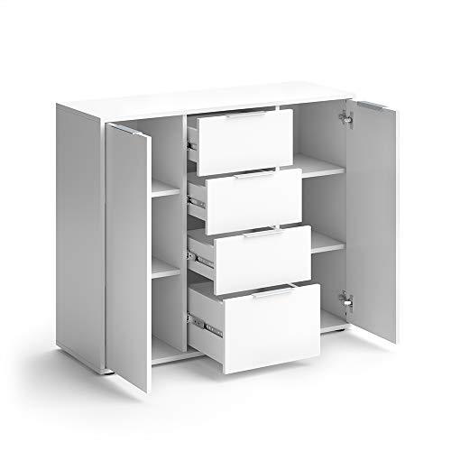 Vicco Sideboard Leon Kommode Schrank Weiß Sonoma Eiche TV Anrichte Highboard (Weiß) - 3 Regal Eiche Tisch