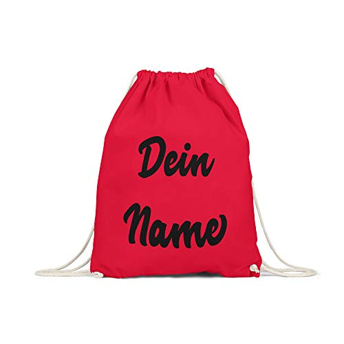 licaso Personalisierter Turnbeutel Spruch in Rot Dein Name individuell auf Sportbeutel mit robuster Kordel Gym Bag selbst gestalten Druck Customize -
