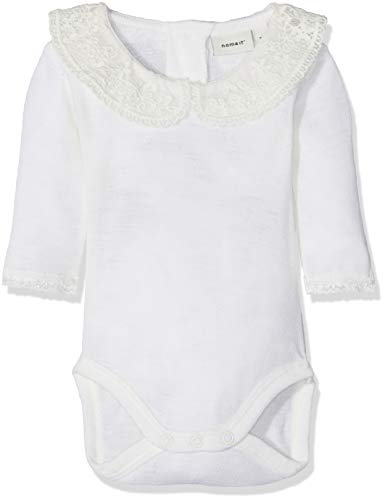 NAME IT Baby-Mädchen Strampler NBFWANG Wool Need.LS Body W/COL NOOS, Weiß (Snow White), 74