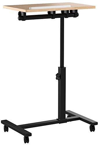 Relaxdays - Mesa para portatiles con altura regulable, 95 x 60 x 40,5 cm, mesa auxiliar con ruedas, con soporte para ratón,con barra antideslizante, amarillo