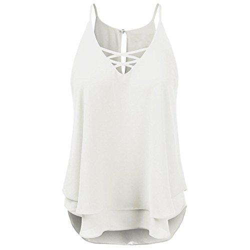 SEWORLD Damen Sommer Solide Strand Kreuz Weste Top ärmellose Bluse Beiläufig Tank Lose T-Shirt (S, Weiß)