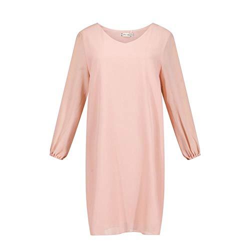 MFFACAI Herbstkleid, v Kragen, Ärmel gespalten, entspannen, Eine Linie, Chiffon Kleid, Lange Ärmel Mode Damen, XXL -