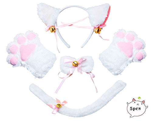 Beelittle Cat Cosplay Costume Kitten Ears Collar de Cola Paws Cat Cosplay Collection 5 Pack (White)