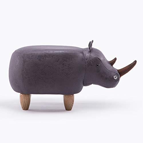 YIRE stool Hocker Cartoon Kreative Rhinoceros Massivholz Schuhe Bank Sofa Hocker Halle Hocker Test Schuhe Hocker Lagerung Lagerung Hocker (Farbe : Gray, größe : 2)