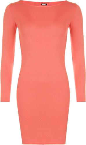 WearAll - Damen Minikleid Langarm - Koralle - 36-38