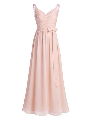 iiniim Damen Elegant Lang Chiffon Brautjungfer Abendkleid Maxikleid Cocktailkleid Gr.36-46 Apricot...