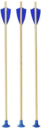 VAH - Set aus 3 Ersatz-Pfeilen, hergestellt aus stabilem Kiefern-Echtholz [Ideal für VAH Juniorbogen 751 | mit Sicherheits-Saugknopfspitze | Pfeilfedern aus Filz | 48cm Länge | Made in Germany]