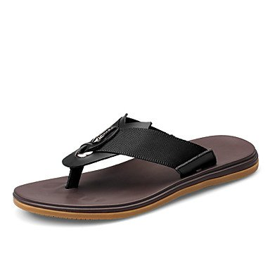 Herren Schuhe Casual Hausschuhe aus Leder Schwarz/Braun Schwarz