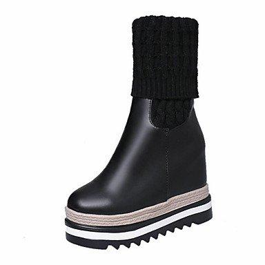 Rtry Femmes Chaussures En Poche Synthétique De Porc Automne Hiver Confort Bottes Mode Slouch Bottes Liane Bout Rond Bottes Mi-veau Mixte Séparation Us6.5-7 / Eu37 / Uk4.5-5 / Cn37