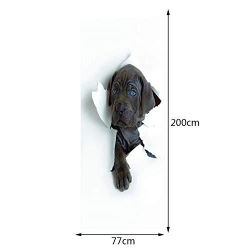 PANDABOOM 3D 77X200Cm Schwarz Hund Wandmalereien Wandaufkleber Tür Aufkleber Tapete Aufkleber Dekoration -