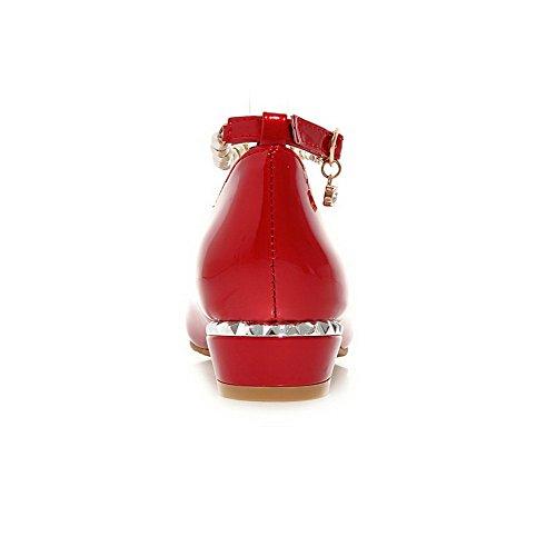 VogueZone009 Donna Punta Tonda Tacco Basso Pelle Di Maiale Puro Fibbia Ballerine Rosso