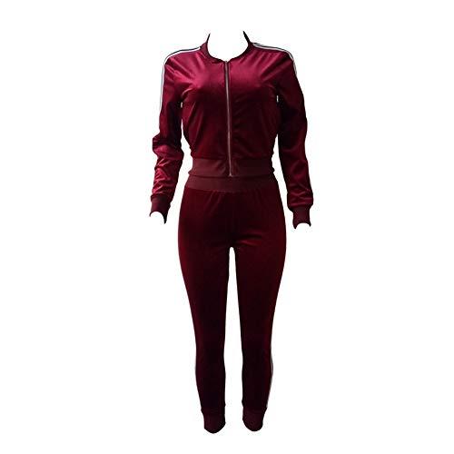 HOUXIAONI Costume da Donna in Due Pezzi, in Velluto, a Maniche Lunghe, con Cerniera, Giacca e Pantaloni Red S