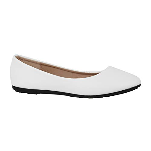 Elara Damen Ballerina Bequeme Slip-Ons Flach chunkyrayan DY-07-White-39