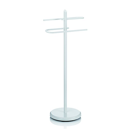 Kela 20541 Handtuchhalter, 2 Arme, Metall pulverbeschichtet, 88 cm Höhe, Ken, Weiß (Weiss Metall Handtuchhalter)