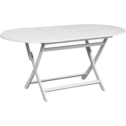 vidaXL Table d'extérieur en bois d'acacia Ovale Blanche Table de jardin terrasse