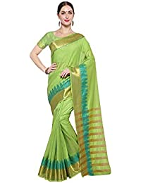 57390e676f2543 Purvi Fashion Women's Self Weaving Green Cotton Silk Saree With Blouse