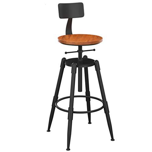 Lot de 4 tabourets de Bar de Style Industriel en Bois r/églable en Hauteur Lot de chaises de Bar iKayaa Tabouret Bar Bois