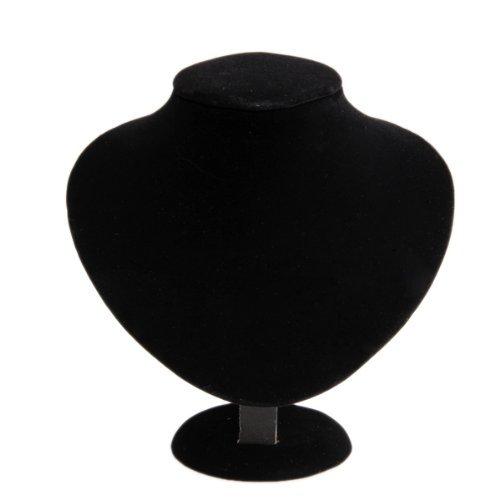 Expositor-Exhibidor-Busto-Madera-Tela-para-Collar-Brazalete-Negro