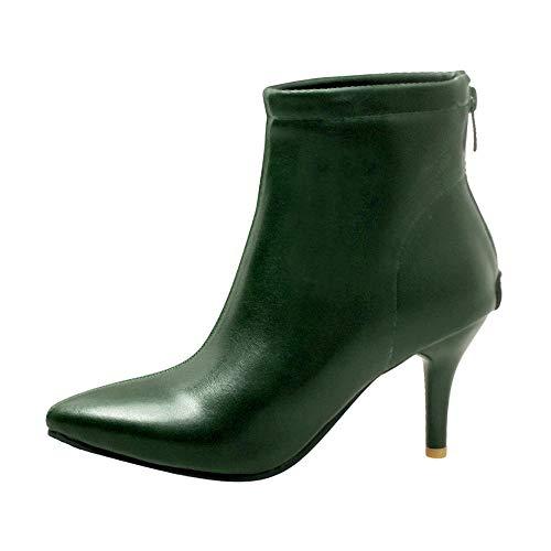 MRULIC Damen Stiletto Stiefel Pointed-Toe Schuhe Zipper High Heel Short Plüsch Mode Stiefeletten Streetwear Pumps(Grün,38 EU)