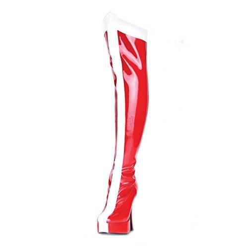 PleaserUSA Plateau-Overknee-Stiefel Electra-2090 Lack Rot/Weiß