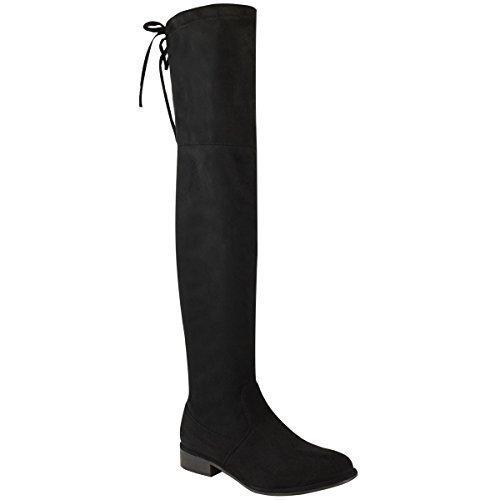 Damen Hoch Schenkelhoch Overknee Niedriger Blockabsatz Schnürer Slouch Stiefel Größe - Schwarz Kunstwildleder, 40 (Hohe Flache Schwarze Stiefel)