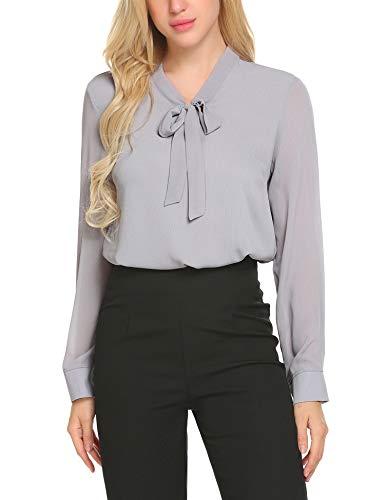 Beyove Damen Elegant Business Chiffonbluse Schluppenshirt T-Shirt mit Schleife V-Ausschnitt Bluse Hemd Oberteil