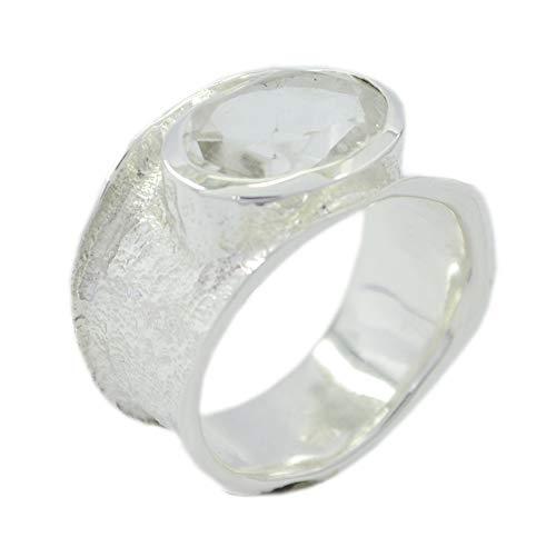 Riyo Suministros de Plata de Ley 925 Ideal Anillo Blanco Genuino, Cristal de Cuarzo Piedra Blanca Anillo de Plata