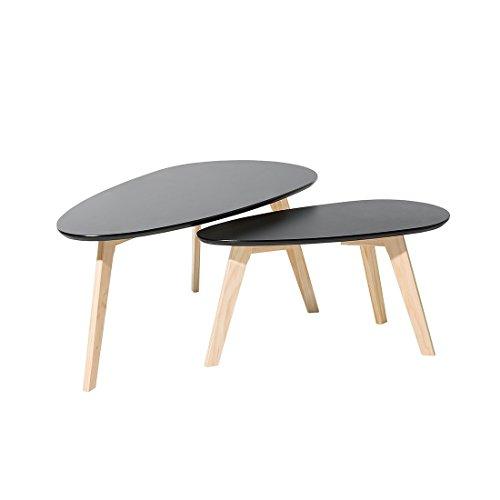 Tables Basses - Lot de Deux Tables de Salon - Noir - Fly II