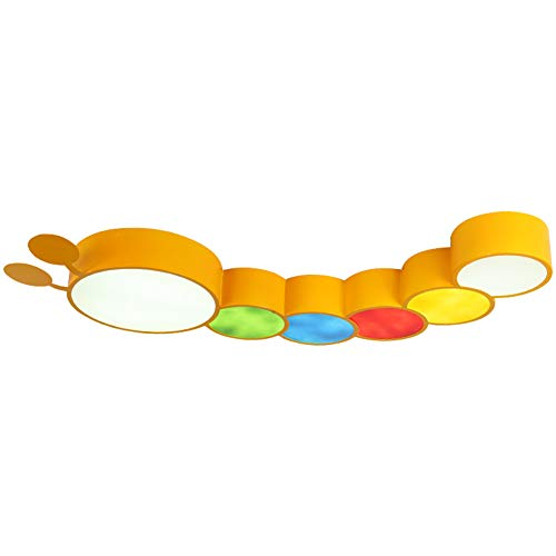 Kinderzimmer Schmiedeeisen Farbe Caterpillar Form Deckenleuchte, LED Acryl Lampenschirm moderne Cartoon Kronleuchter junge Mädchen Schlafzimmer Studie Leuchte-yellow -