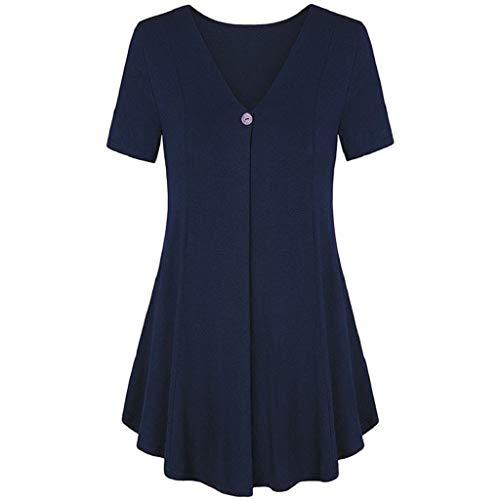 Sasstaids Sommer heißes Kleid,Elegantes Damen Kurzarm Volltonfarbe Button Bluse Top Damen Casual Plissiertes V-Ausschnitt T-Shirt