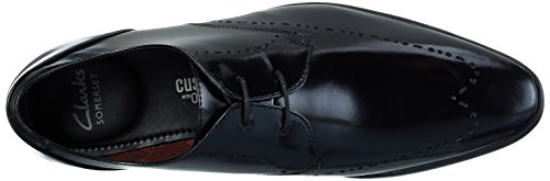 Clarks Bampton Limit, Scarpe Stringate Basse Brogue Uomo Nero (Black Hi-Shine Leather)