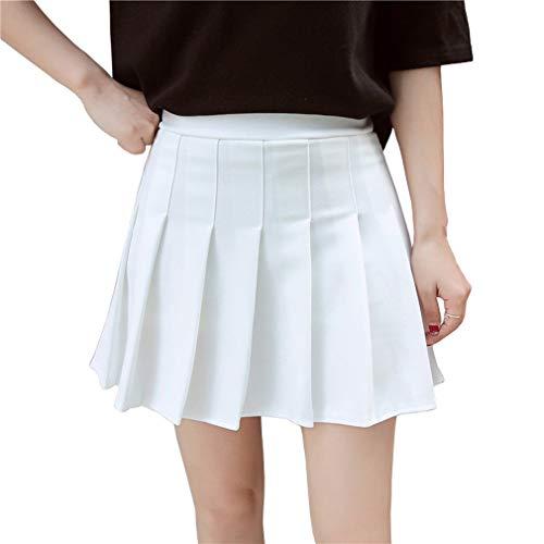 Hoerev Frauen Mädchen kurze hohe Taille gefaltete Skater Tennis Schule Rock, Weiß - 40 / XL