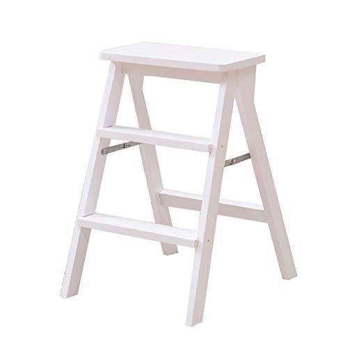 Holz-Trittleiter, 3-Stufen-Multifunktionsleiter, Klappbare Küchenstufen Bibliotheksbüro Höhe: 63cm (Farbe : Weiß)