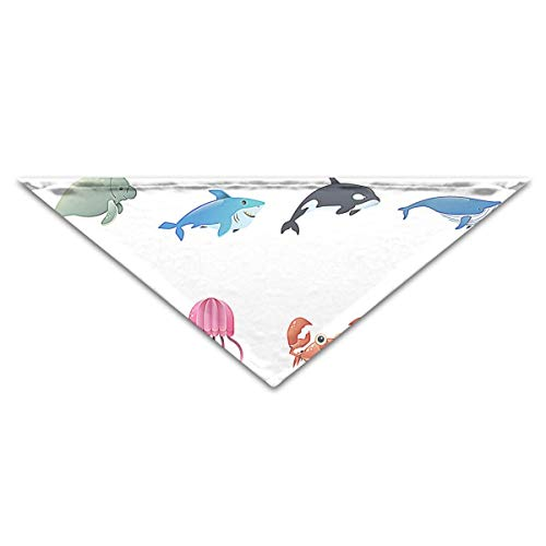 dfegyfr Sea Creature Pet Dog Cat Puppy Bandana Triangle Head Scarfs ()