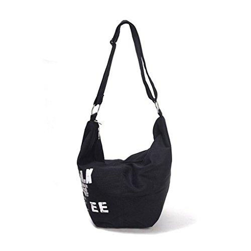 Greenery Style Coréen Nouveaux Sacs des Femmes en Toile Imprimé Alphabets Poches à Bandoulière porté Main Haute Capacité-Blanc noir